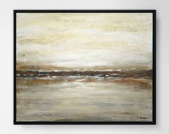Landscape painting 16 x 20 original abstract art oil painting earth tones neutral colors modern art landscape wall art home decor design