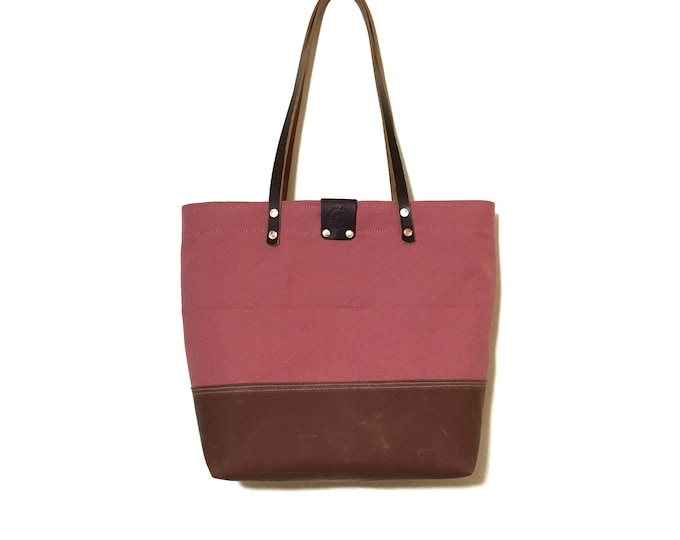 Waxed canvas bottom two toned simple tote