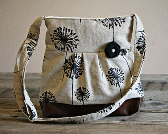 Conceal Carry Purse, Medium Messenger Bag, Dandelion Purse, Conceal Carry Handbag, Concealed Carry Purse, Conceal and Carry, Black Dandelion