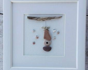 Pebble art bees  honey, bees, honey pebble, home decor, home living, pebble picture
