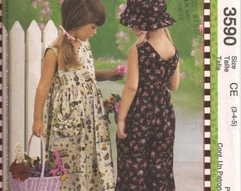 ON SALE 2002 Sewing Pattern - McCall's 3590 Children and girls dress jumpsuit hat Size 3 - 5 Uncut, Factory Folded
