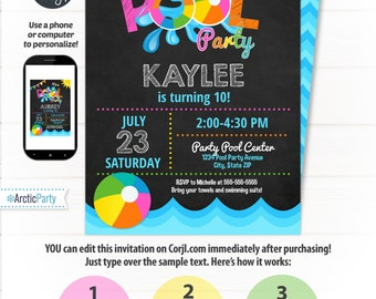Pool Party Invitations - Swimming Pool Birthday Party - Swimming Party Invitations - Pool Party Invitation - Pool Party Supplies - Corjl