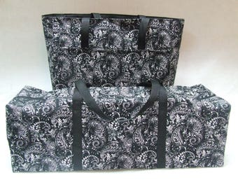 Silhouette Cameo Carrying Tote with matching Accessory Bag / Silhouette Cameo 2 or Cricut Expression / Black and White Paisley Print Fabric