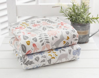Deer and Flowers Cotton Fabric - Pink or Blue - By the Yard 82357