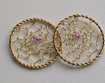 Pair of dream catcher gold Pink Pearl