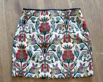Vintage tapestry jacquard mini skirt small