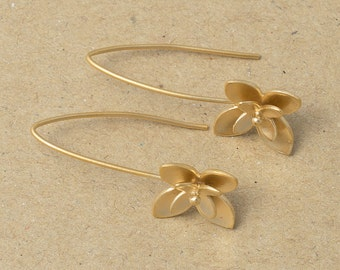 Flower Hook , Jewelry Craft Supplies, Matte Gold Plated Over Brass - 2 Pieces-[BH0002]-MG