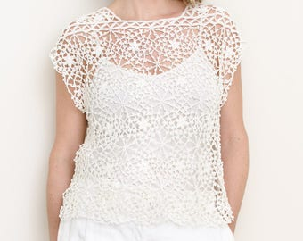 Crochet Top PATTERN - Small to Plus Size, Women, Summer, Seamless, Drop Shoulder -  Serenity Top - PDF
