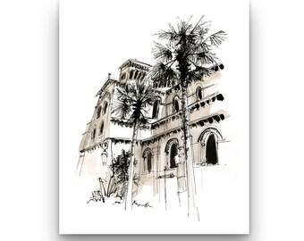 """Illustration """"Cathédrale Notre Dame immaculate de Monaco"""""""