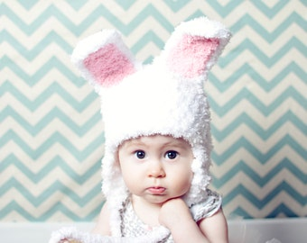 Soft Pink and White Baby Girl Photo Prop Easter Bunny Tie Earflap Hat
