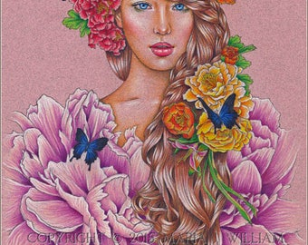 Flora - original colored pencil drawing - MATTED