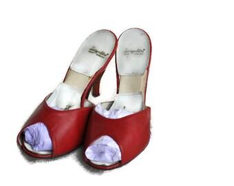 Vintage 1950's Red Mules Spring-o-lators // 50's Red Peep Toe High Heels // UK Size 5.5/6