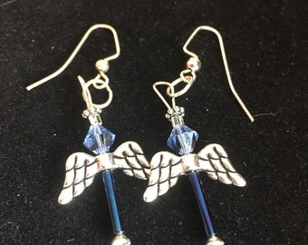 Angel dangels made with Swarovski crystal and Czech glass beads