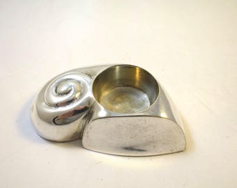 Vintage Snail Candleholder Silver Finish Votive Candle Holder Tea Light Garden Snail Silver Plate Snail Paperweight Desk Accessory