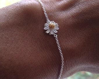 Daisy Bracelet Sterling Silver Daisy Bracelet Daisy Jewelry Birthday Gift    Boho Bracelet  Mothers Day Gift