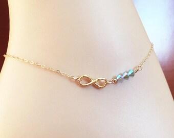 Gold Infinity Anklet - Swarovski Blue Opal Ankle Bracelet - Bridal Anklet - Something Blue - Hammered Inifiniy Bracelet - Minimalist Anklet