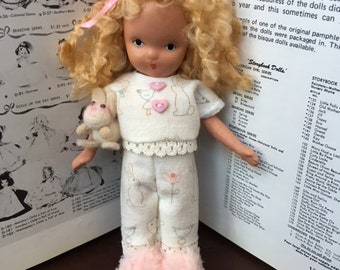 """Amy and Bunny's Bedtime OOAK Vintage 5"""" Storybook Doll"""