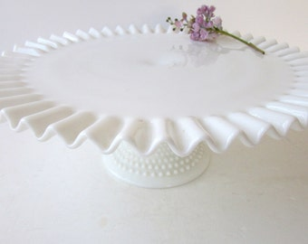 Vintage Cake Stand - Milk Glass - HobNail - Wedding Cake Stand - Ruffle Edge - Ribbed Stem - Cake Pedestal -  White Cake Stand