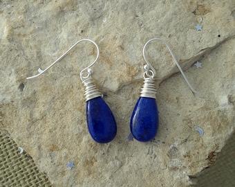 Lapis Earrings, Sterling Silver Lapis Lazuli Dangle Earrings, Blue Gemstone Earrings