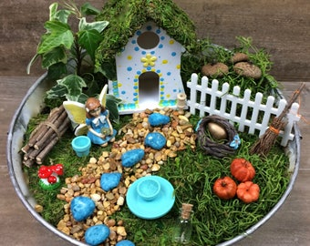 Fairy garden kit with container DIY, Blue & Yellow polka dot with Blue Fairy, flower pin fairy house, galvanized outdoor container