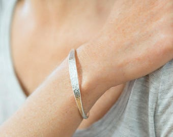Sterling Silver Bangle Hammered silver Bracelet Hammered silver Bangle Unusual jewellery bangle bracelet Silver Jewelry Gift for Her