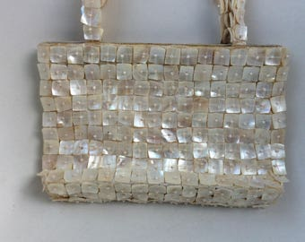 1960's Mother of Pearl Handbag - Vintage Evening Purse with Square Mother of Pearl - Small Chic Handbag