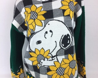 Snoopy Peanuts vintage sweater rare sunflowers oversized sweater Made in USA L