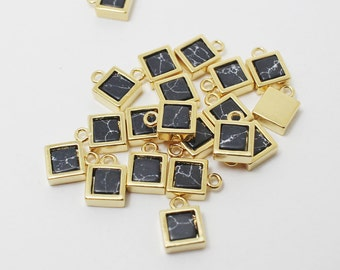 P0358/Anti-Tarnished Gold Plating Over Brass + Marble/Marble Square Pendant/6x 8mm/2pcs