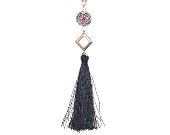 Black tassel necklace * pink and black flower cabochon * diamond metal