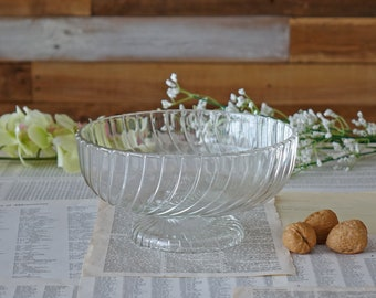Vintage clear glass bowl Pedestal bowl Bowl with foot