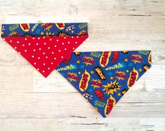 Comic Book Words Over Collar Dog Bandana, Polka Dot Pet Scarf, Reversible