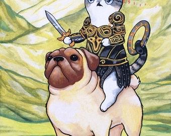 "8.5x11in. print - ""Xena Warrior Cat"""