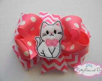 Cat Hair Bow, Kitten Hair Bow, Kitty Hair Bow, Cat Bow, Kitten Bow, Kitty Bow, Pink Chevron Hair Bow