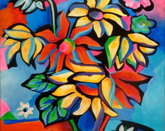 Spring bouquet painting colorist, acrylic on canvas coated, modern painting, stylized bouquet, colorful painting, gift.