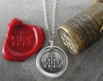 Christogram Wax Seal Necklace - antique IHS wax seal charm jewelry Cross and Jesus Christ Monogram by RQP Studio
