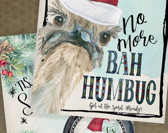 Bah Humbug Ostrich Instant Download Holiday Digital Printable  Christmastime Set - Wall art Stickers Tags, Note cards Stationery Lockscreen
