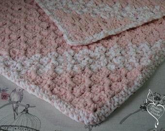 Crochet Baby Blanket Pink - White / Super Soft Crochet Blanket