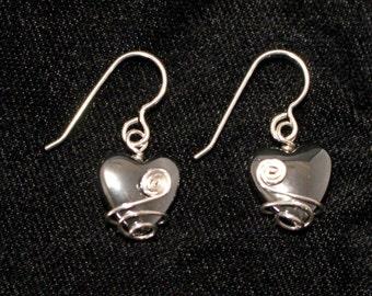 Wire-wrapped Hematite Heart Earrings