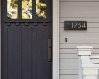 House Number Plaque, Raw Steel, Horizonal