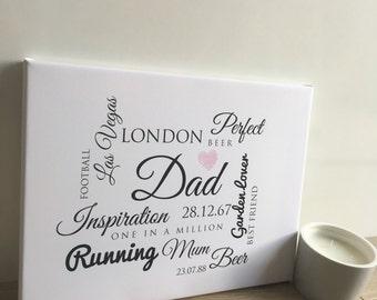 Personalised Dad Word Canvas
