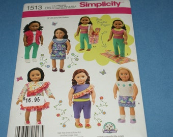 """New Simplicity 18"""" doll Clothes Pattern 1513"""
