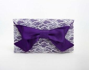 Big sale -  Purple  Ivory  clutch bridesmaid gift  envelop clutch wedding clutch,Evening bag