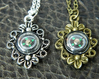 Vintage Inspired Compass Necklace.Mini Working Compass.