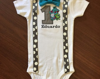 Monster first birthday baby boy outfit
