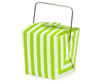 "6 Lime Green Stripe Mini Take Out Box or Pail for Treats, Packaging & Gift Wrap . 1-5/8"" x 1-5/8"" x 2"""