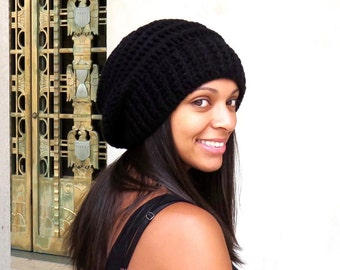 Crochet Slouchy Hat, Women, Men, Teen, Beehive Hat, Tam,  Adult, Black, Ribbed,