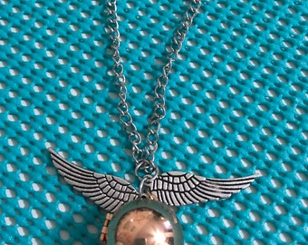 Steampunk Industrial Golden Snitch Harry Potter Locket Necklace with Silver Wings 26 Inch Chain