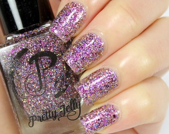 Holographic Glitter Nail Polish, Indie Nail Lacquer, Pink Holo Glitter, Multichrome Flakie, Custom Nail Color, Gift for Her, Vegan, AVIVA
