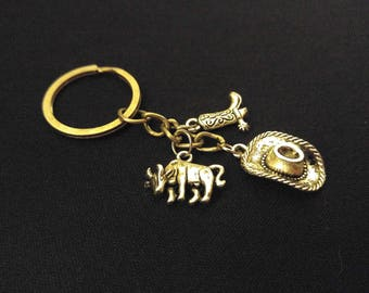 COWBOY BOOT HAT Cow Country Silver Metal Charm Keychain Key Ring Unique Gift