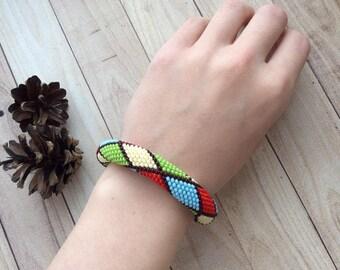Bright Geometry Crochet Rope Seed Bead Bracelet with Pattern